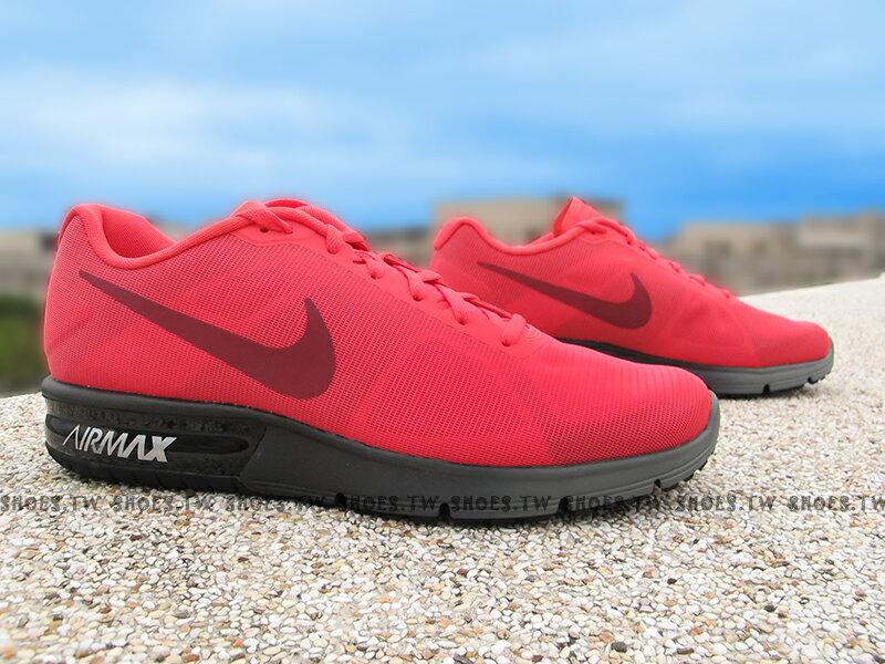 《超值6折》Shoestw【719912-802】NIKE AIR MAX SEQUENT 氣墊 慢跑鞋 深桃紅黑 男生