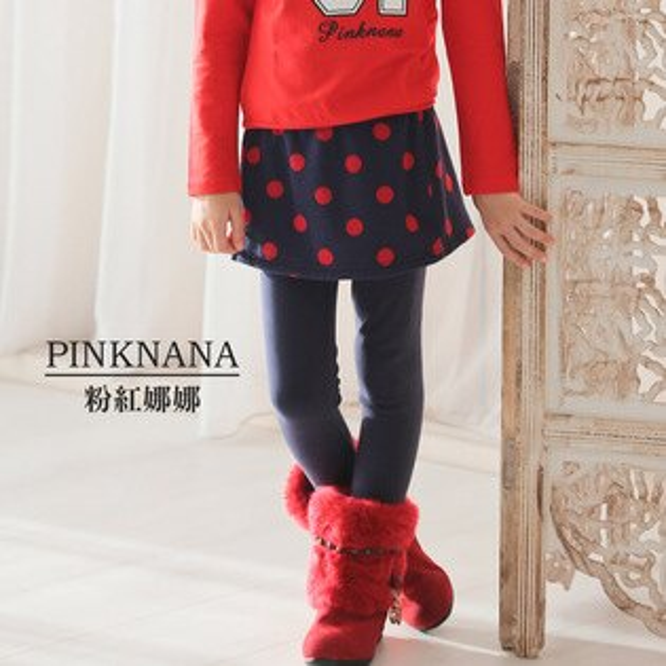 Pink Nana:PINKNANA童裝-大童點點造型厚感裙子內搭褲35189