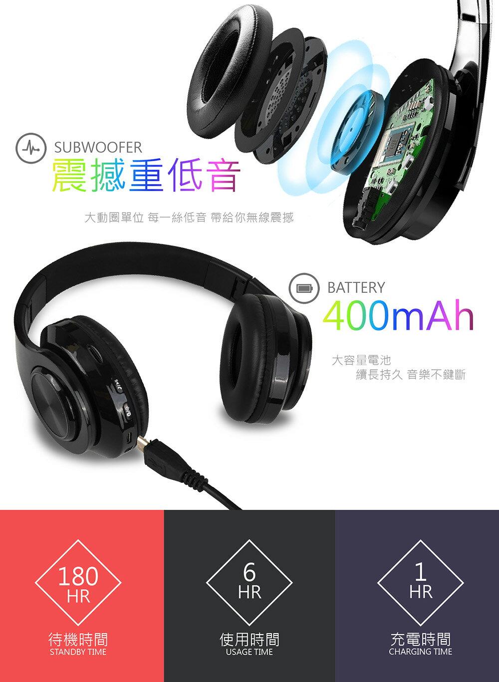 【耳罩式升級版!Wireless炫彩藍牙耳機】可插卡 耳罩式藍牙耳機 可折疊 無線藍芽耳機 藍芽耳機 藍牙 藍芽【DC065】 3
