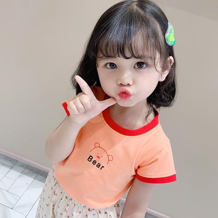 女童短袖上衣 女童短袖t恤夏季女寶寶夏裝面膜t兒童半袖純棉上衣 凡卡時尚