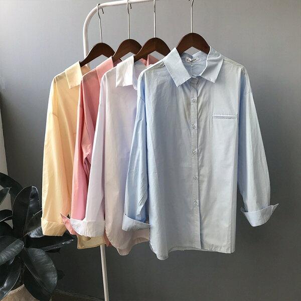 舒適寬鬆顯瘦休閒長袖襯衫樂天時尚館。預購。[全店免運]