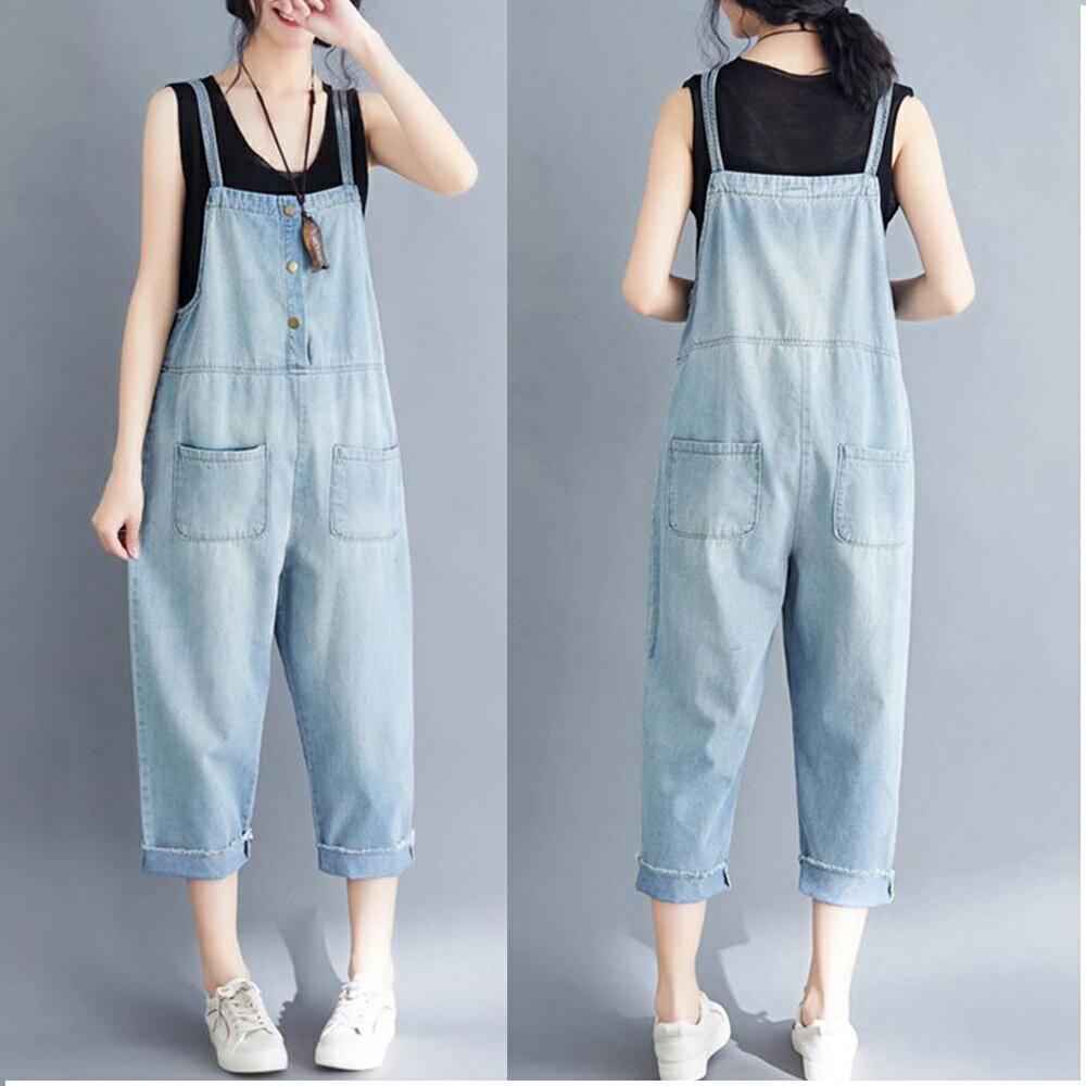 文藝大碼背帶牛仔褲(藍色S~3XL)【OREAD】 0