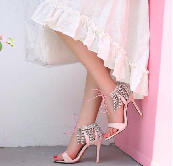 Pyf♥公主風甜美高跟涼鞋流蘇水鑽細跟高跟鞋宴會鞋綁帶一字涼鞋伴娘鞋加大46大尺碼女鞋