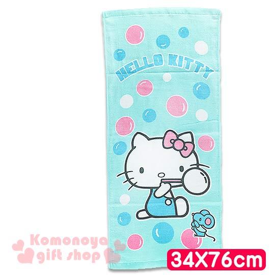 〔小禮堂〕Hello Kitty 長毛巾《M.綠.側坐.老鼠.泡泡.34x76cm》