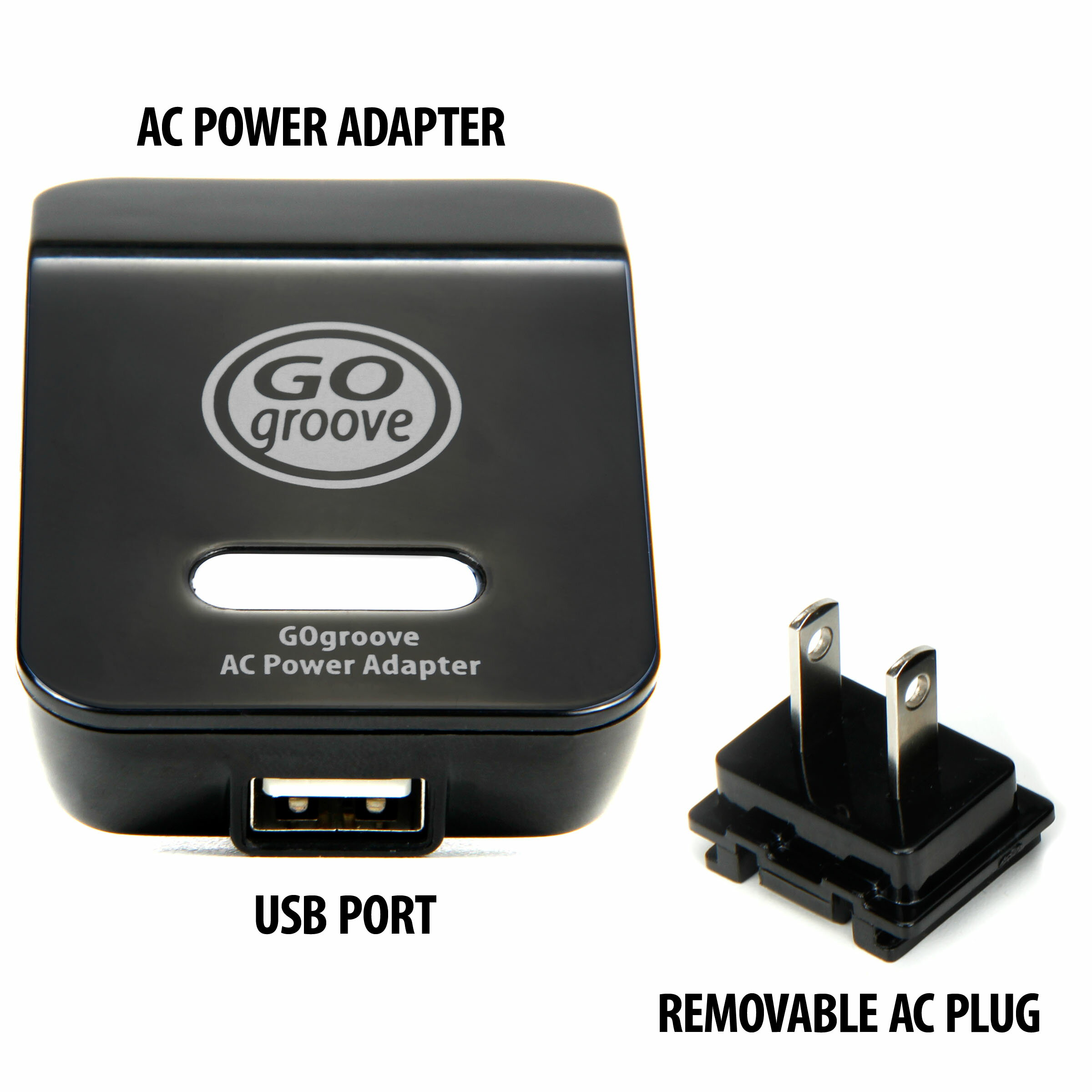 Universal USB Power Adapter Plug by GOgroove for GoPro Hero and more Action Cameras 2
