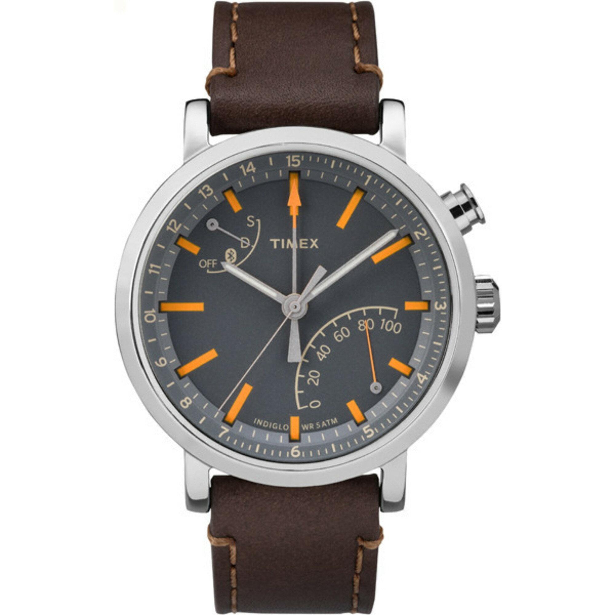 306c986734c Timex Metropolitan+ - Analog Activity Tracker Watch Leather Grey Dial  TW2P92300 0