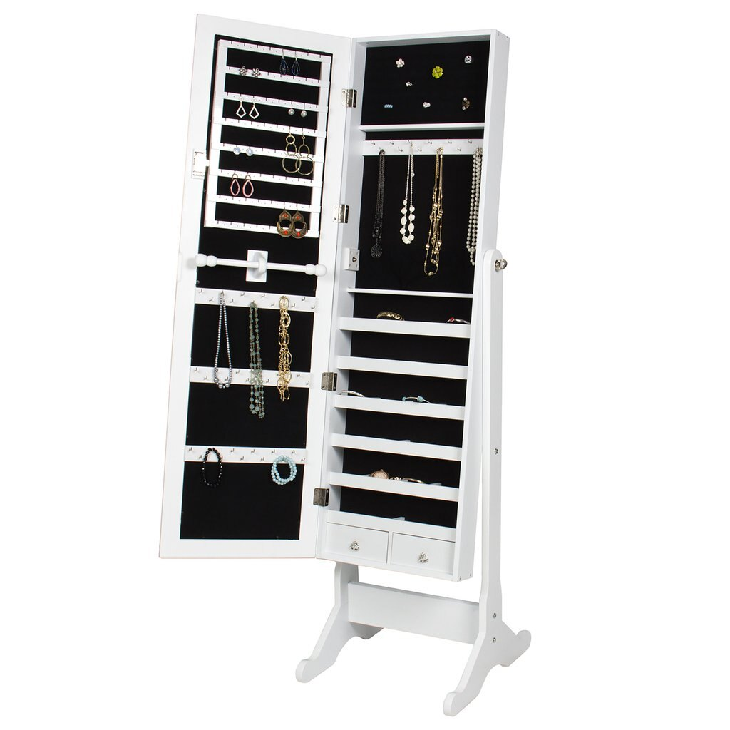 Best Choice Products Mirrored Jewelry Cabinet Armoire W/ Stand Rings, Necklaces, Bracelets - White 3