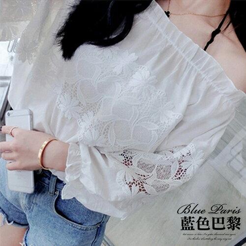 襯衫 - 韓版 學院一字領露肩拼接蕾絲七分袖上衣【27003】藍色巴黎 - 現貨+預購