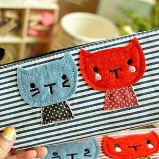 =優生活=韓國文具 簡約甜美小貓咪筆袋 可愛創意帆布筆袋 收納袋