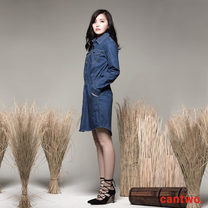 cantwo丹寧襯衫式長袖洋裝(共一色) 0