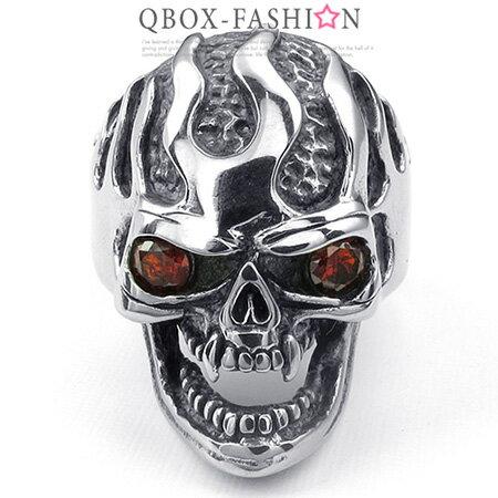 《QBOX》FASHION飾品【W10024809】精緻個性骷顱頭眼鋯石鑄造316L鈦鋼戒指戒環