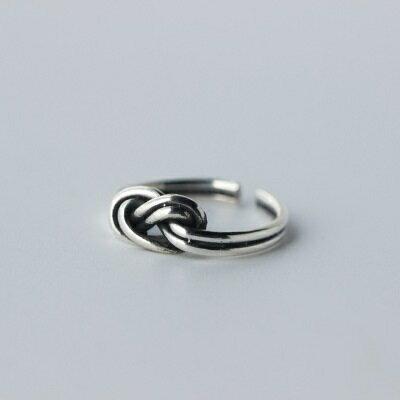 925純銀戒指開口戒~民族風格雙層繩結七夕情人節 女飾品73dt99~ ~~米蘭 ~