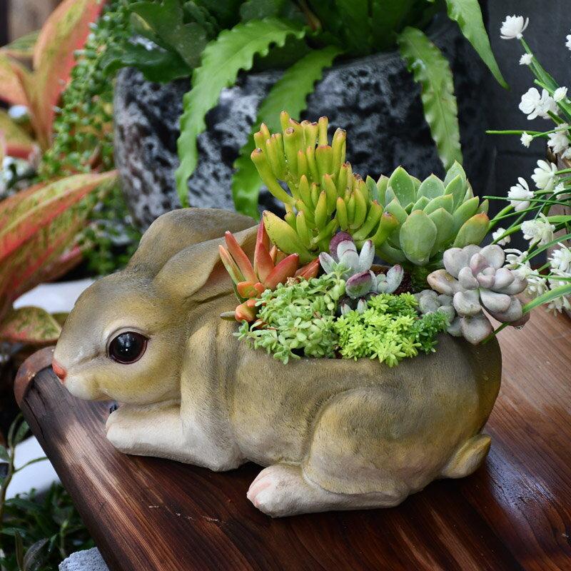 歐式大號兔子多肉植物花盆創意可愛仿真動物造型盆栽樹脂園藝擺件