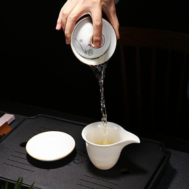 逸峰白瓷蓋碗家用茶杯功夫茶具薄胎大小號茶碗三才蓋碗單個泡茶器