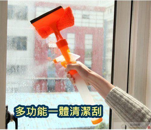 【多功能一體玻璃清潔刮】除塵刷 窗戶 浴室 牆壁 雙面噴水清潔刮 廚房清潔 汽車清潔 玻璃刮【狂麥市集】