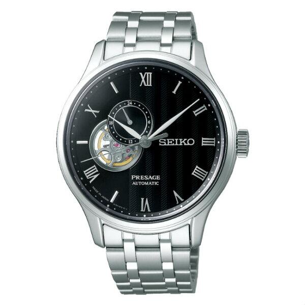 Seiko精工錶Presage4R39-00W0D(SSA377J1)竹苑開芯鏤空小秒針機械腕錶黑面42mm