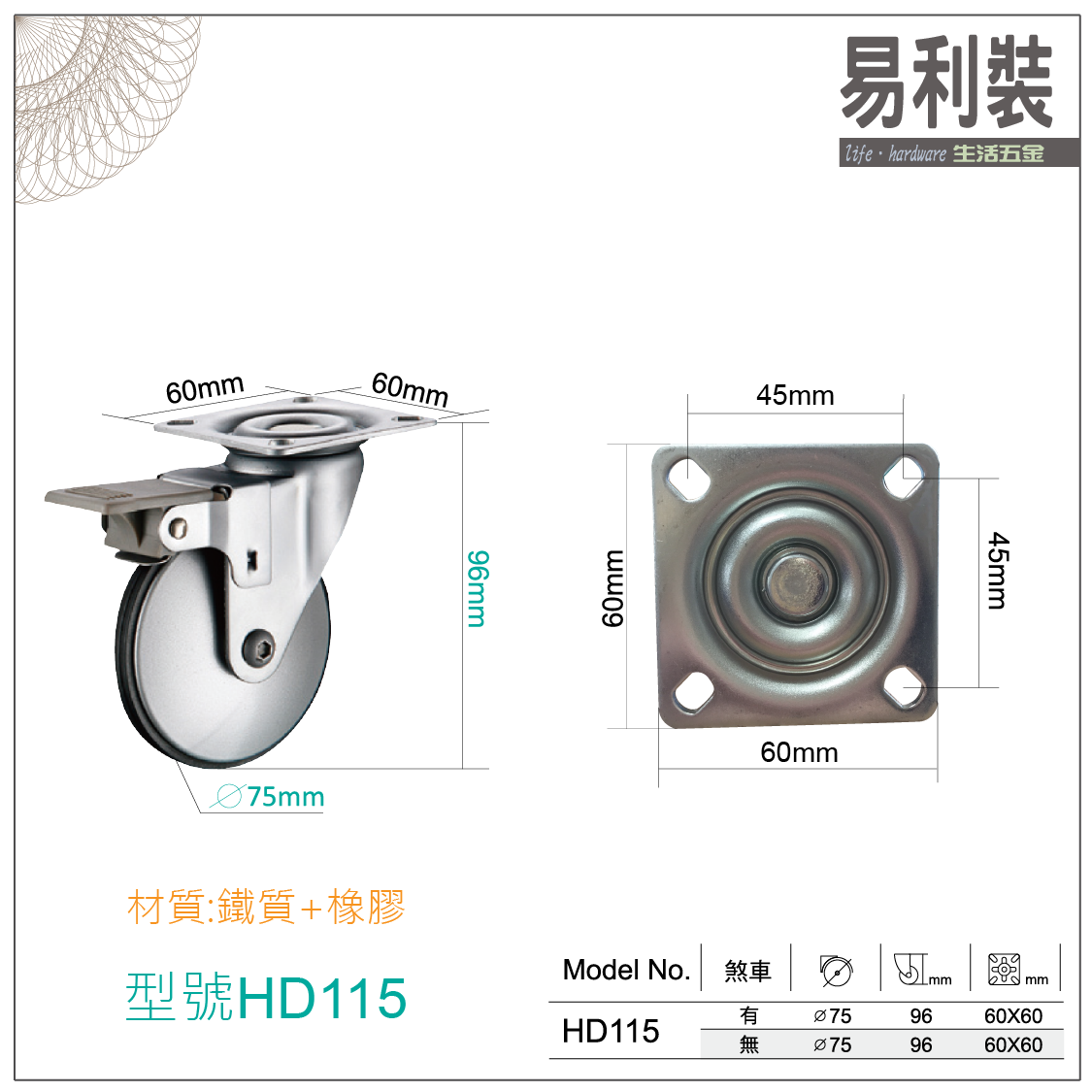 【 EASYCAN  】HD114-115活動輪 易利裝生活五金 桌輪 櫃輪 房間 臥房 衣櫃 小資族 辦公家具 系統家具 2