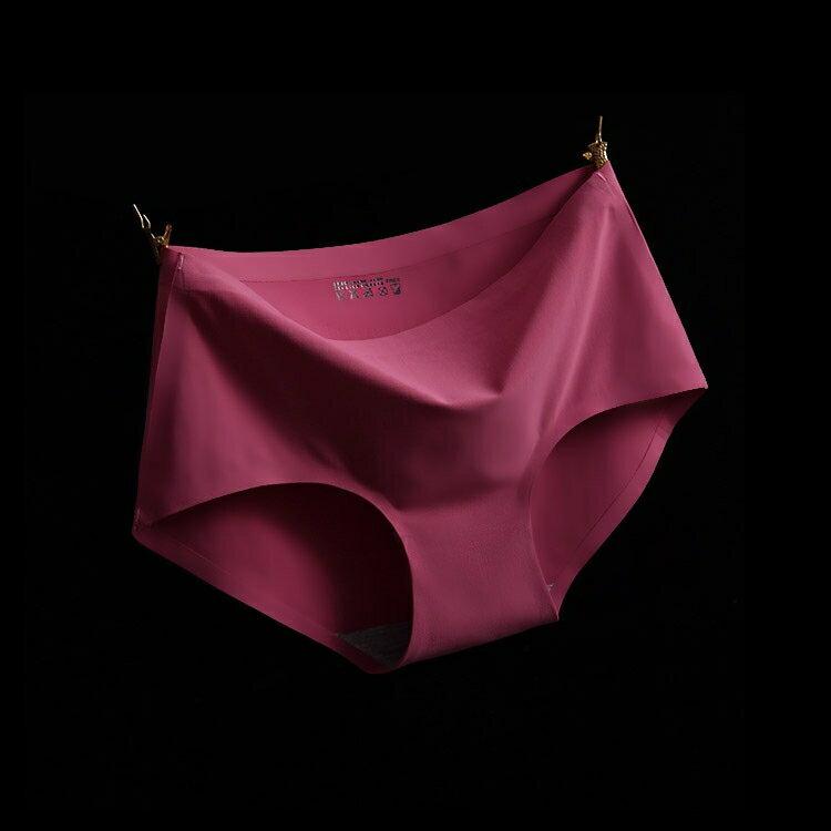 暗紅 XL冰絲無痕中腰純色性感女仕內褲 中大尺碼 # 一片式