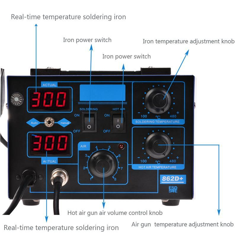2 in 1 862D + SMD Soldering Iron Hot Air Rework Station LED Display with 4 Nozzle 2
