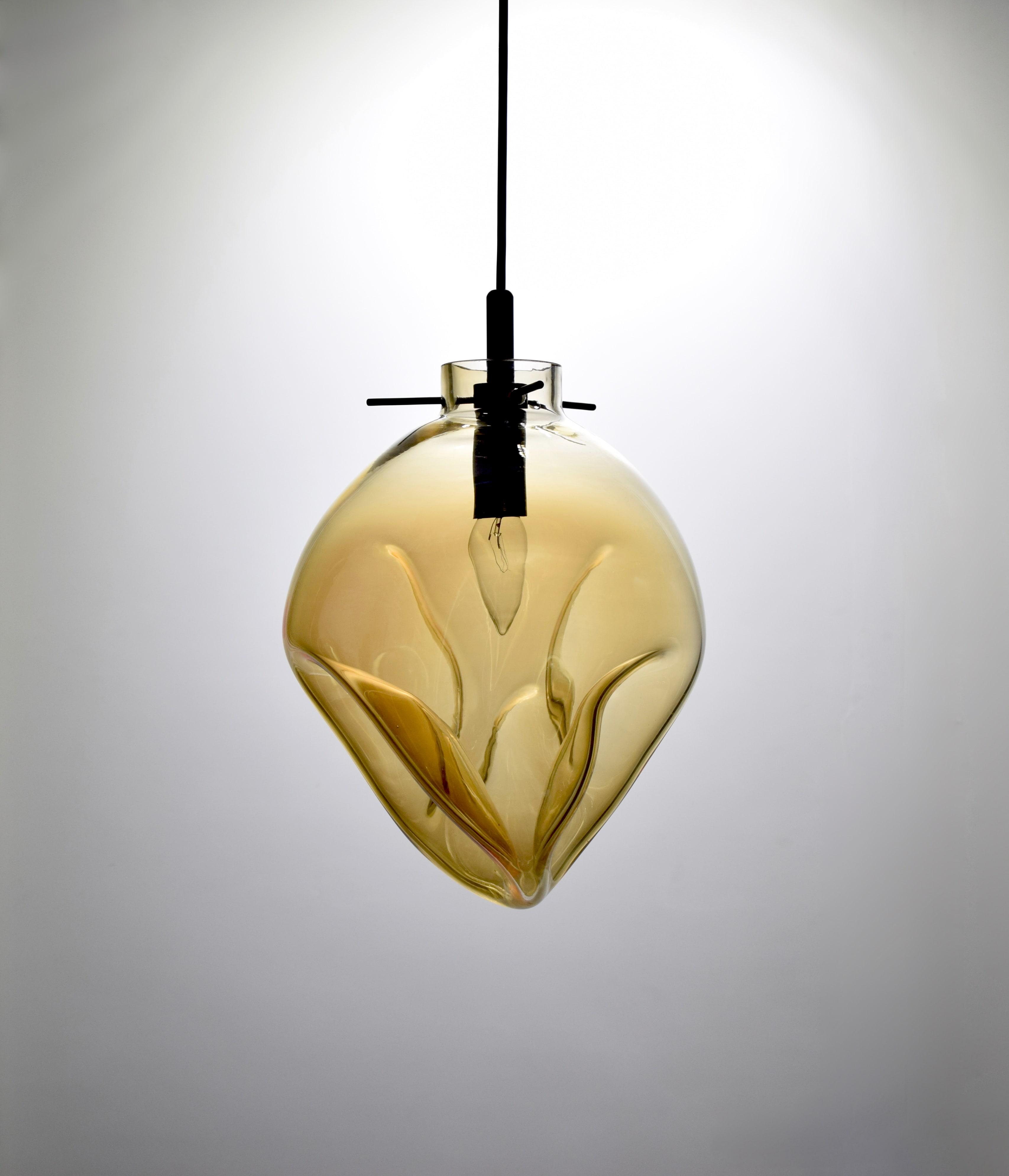 手工吹製琥珀色玻璃吊燈-BNL00114 1