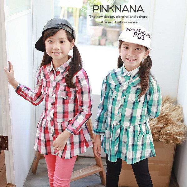 Pink Nana:PINKNANA童裝中大童秋天薄款格紋長袖襯衫30220