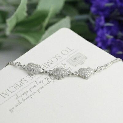 ~玫瑰金手鍊 鑲鑽純銀手環 ~ 精緻亮眼愛心情人節生日 女飾品2色73dl10~ ~~米蘭