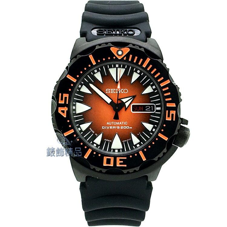 【錶飾精品】SEIKO 精工手錶 日本製 手自動機械錶 運動款潛水錶 夜光 漸層橘面 鍍黑膠帶男錶 SRP311J2 正品