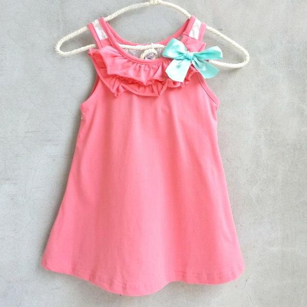 【班比納精品童裝】背蕾絲蝴蝶結背心洋裝-西紅【BN150526005】