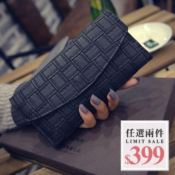 薄款長夾-編織感方格薄款多層次簡約萬用長夾 錢包 【AN SHOP】