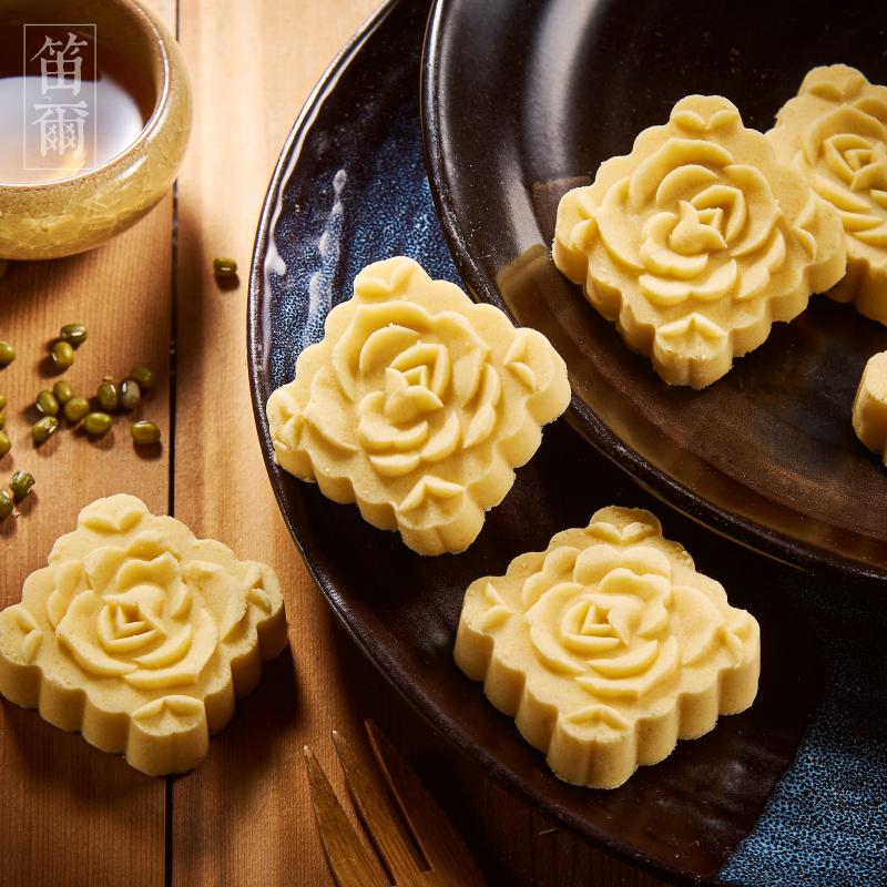 細緻如雪綠豆糕(15入)-笛爾手作現烤蛋糕-手工磨製綠豆仁,一泯綠豆清香滿溢嘴中 1