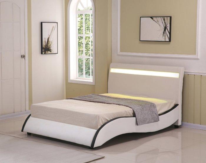 【尚品傢俱】JF-055-1 安琪拉5 尺米白皮雙人床