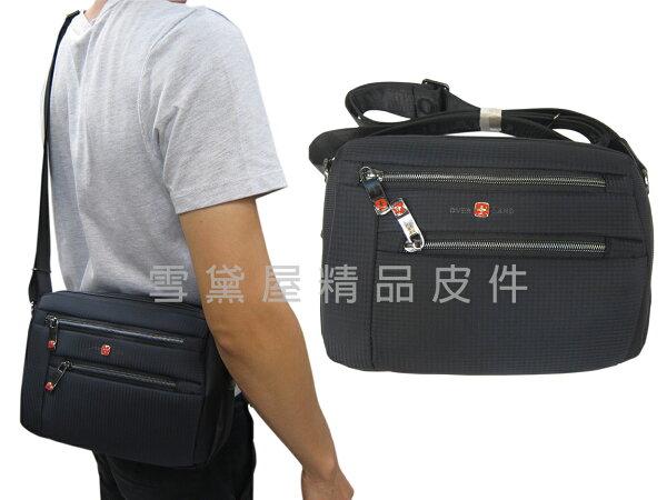 雪黛屋精品皮件:~雪黛屋~OVER-LAND肩側包小容量二層主袋隨身物品專用輕巧中性款男女適用防水尼龍布材質多袋口設計T5222