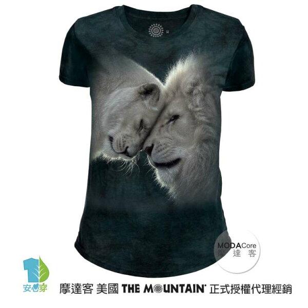 【摩達客】(預購)美國TheMountain都會系列白獅之愛圓領修身女版短T