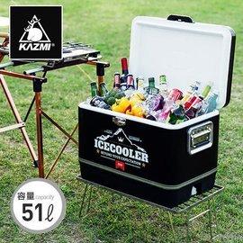 【【蘋果戶外】】KAZMI K6T3A015 黑爵士不鏽鋼行動冰箱51L 冰桶 剛甲武士