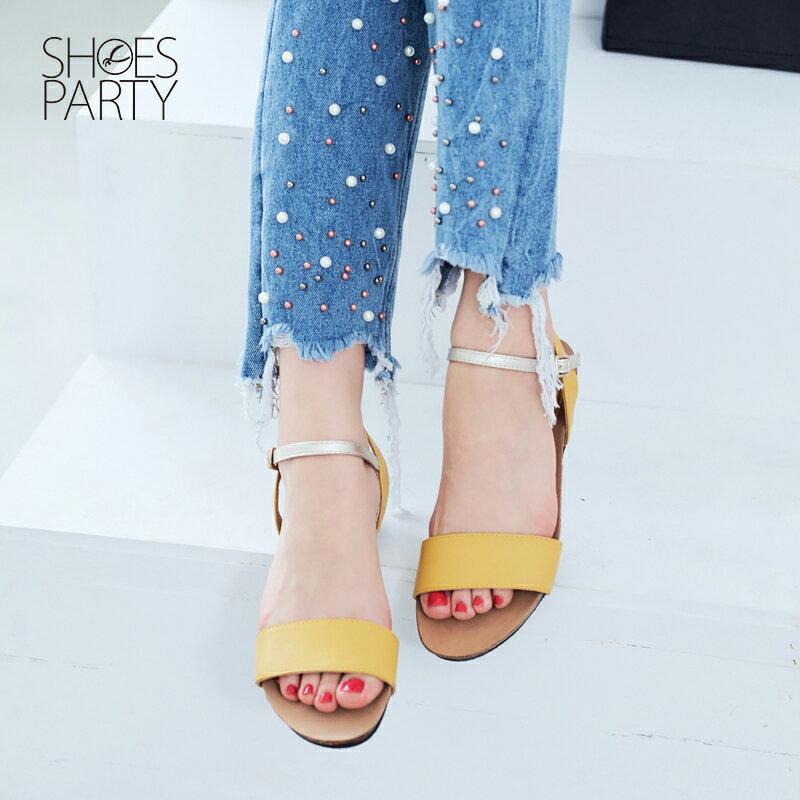 【S2-17326L】服貼牛皮底單色涼鞋_Shoes Party 4