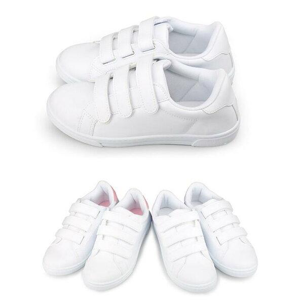 【Mystyle】富發牌1AJ15休閒舒適,三條魔鬼氈休閒鞋(全白、白粉)23-25號-任兩雙免運