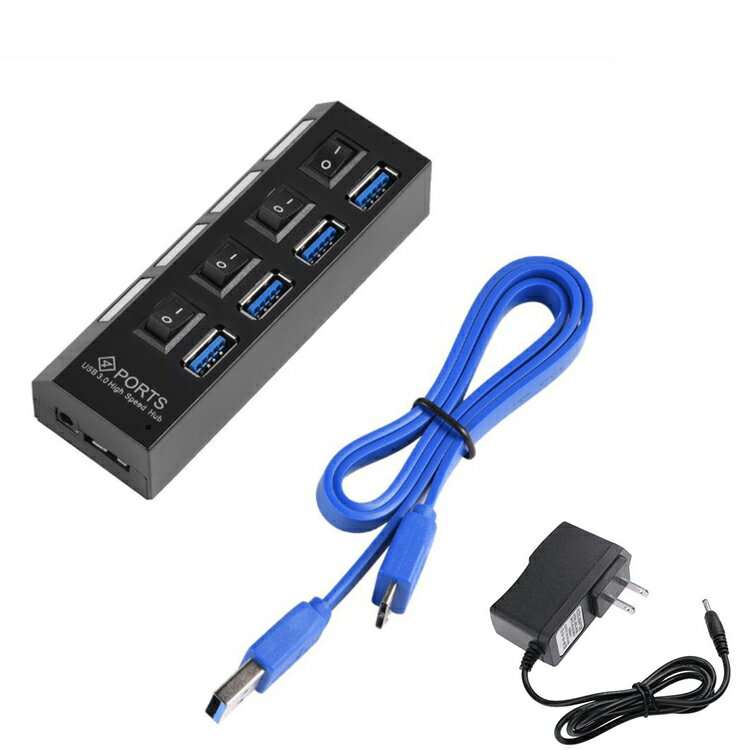On//Off Switch For PC Laptop 4Ports USB 3.0 high speed Hub with AC Power Adapter