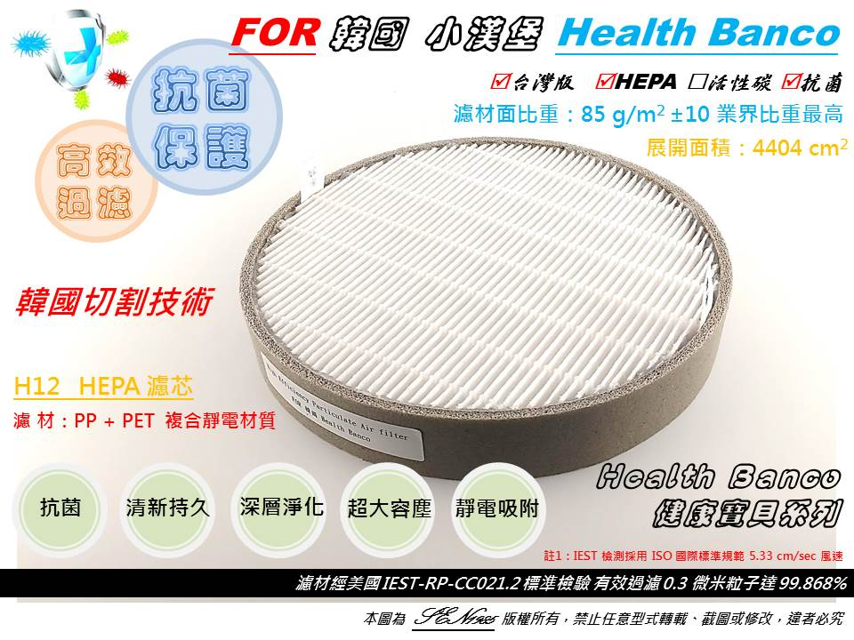 【米歐 HEPA 濾心】兩片優惠 適用 HB-R1BF2025 小漢堡 Health Banco 健康寶貝 空氣清淨機 同BF2025