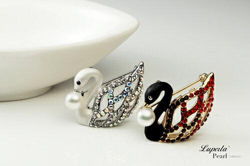 大東山珠寶 天鵝圓舞曲 珍珠項鍊胸針兩用款