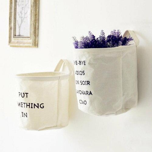 收納籃 髒衣籃 洗衣籃 收納桶 棉麻掛壁收納袋 方形收納筐~SV8225~快樂 網