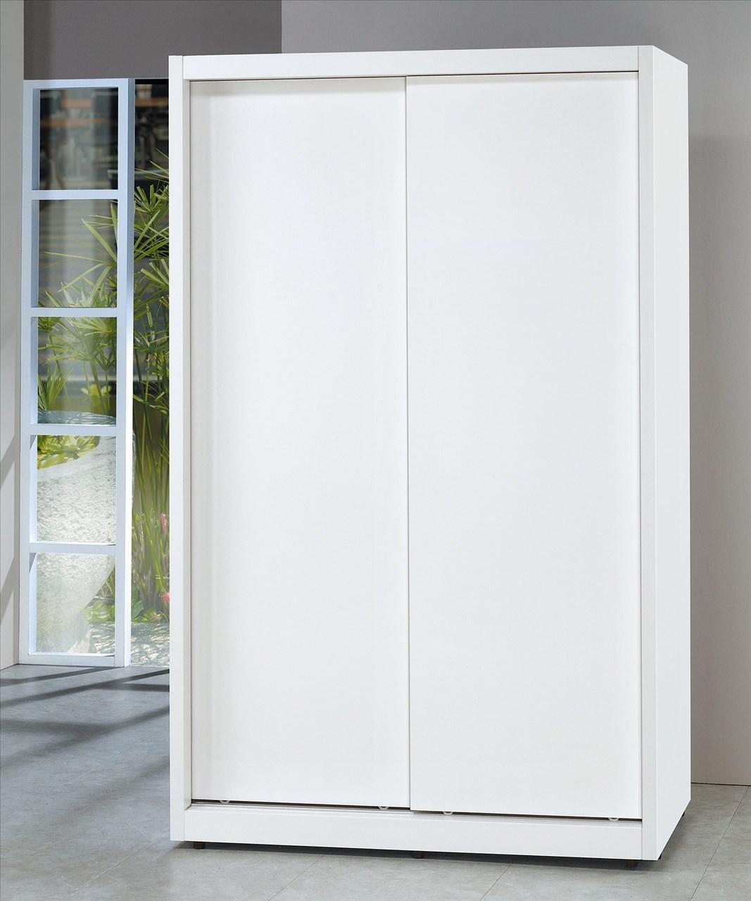 【石川家居】EF-135-1 泰豐純白4*7尺拉門衣櫥 (不含其他商品) 需搭配車趟