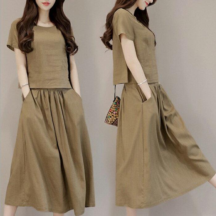 糖衣子輕鬆購【HY8700】韓版時尚文藝復古棉麻A字裙兩件套裝 - 限時優惠好康折扣