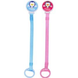 PUKU藍色企鵝 - 大頭Q夾式布質奶嘴鏈 (水藍/粉紅)