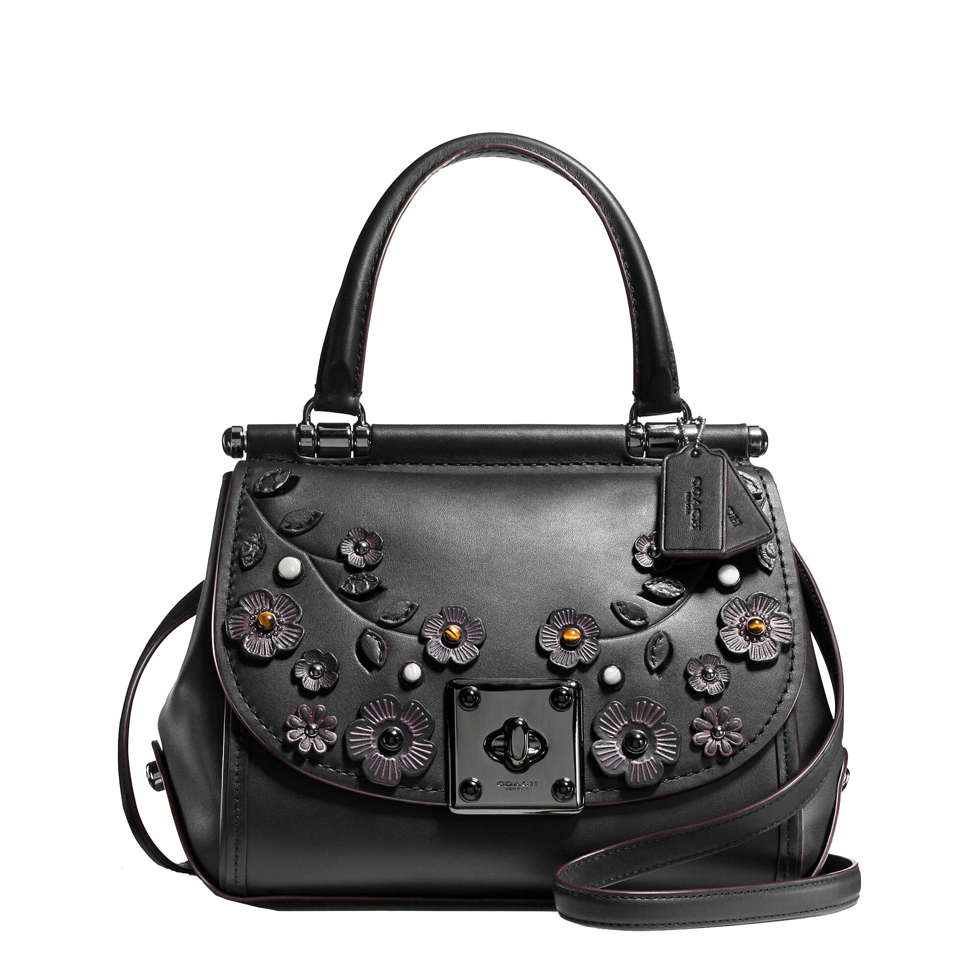 <br/><br/>  COACH  drifter top handle satchel with willow floral applique 54079<br/><br/>