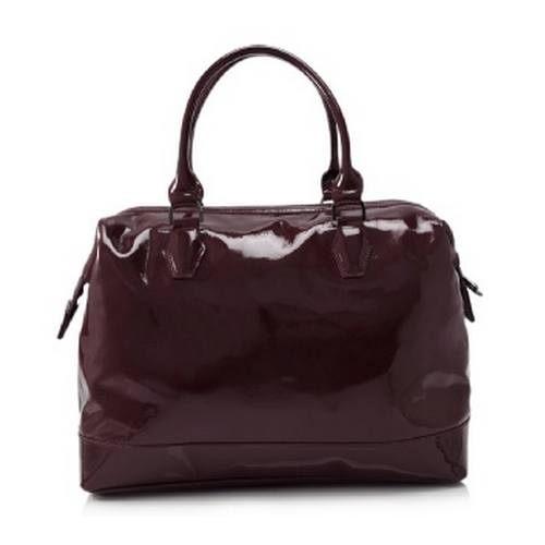 Longchamp法國漆皮肩背手提包(酒紅色)