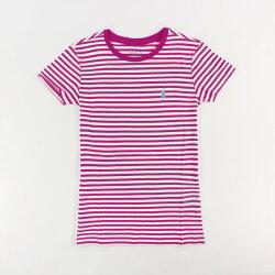 美國百分百【Ralph Lauren】女 RL POLO 短袖 T-shirt T恤 上衣 圓領 桃紅白 條紋XS號 I031