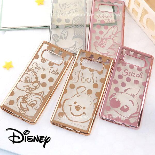 Miravivi:Disney迪士尼SamsungGalaxyNote8時尚質感電鍍保護套-點點系列