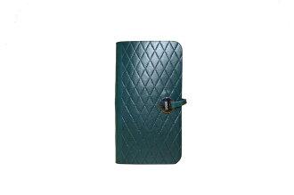 EVOUNI L58-2BU 菱 格紋手機套 iPhoneSE/ iPhone5S 藍(內裡綠)