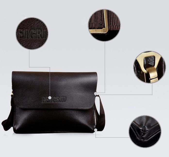 Men Leather Handbag Messenger Shoulder Briefcase 4