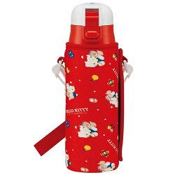 三麗鷗凱蒂貓HelloKitty 不鏽鋼水壺 彈蓋直飲式 冷水壺470ml 附水壺套 日本進口正版 384653